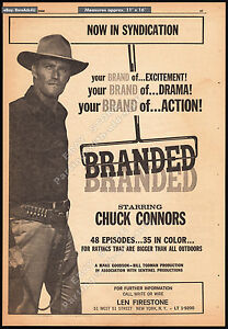 BRANDED-Original-1966-Trade-print-AD-TV-western-promo-poster-CHUCK-CONNORS
