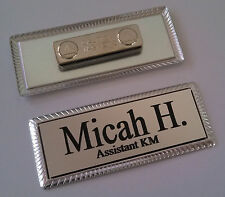 Silver Engraved Name Tag 3x1 On Silver Metal Frame Withmagnetic Badge Attachment