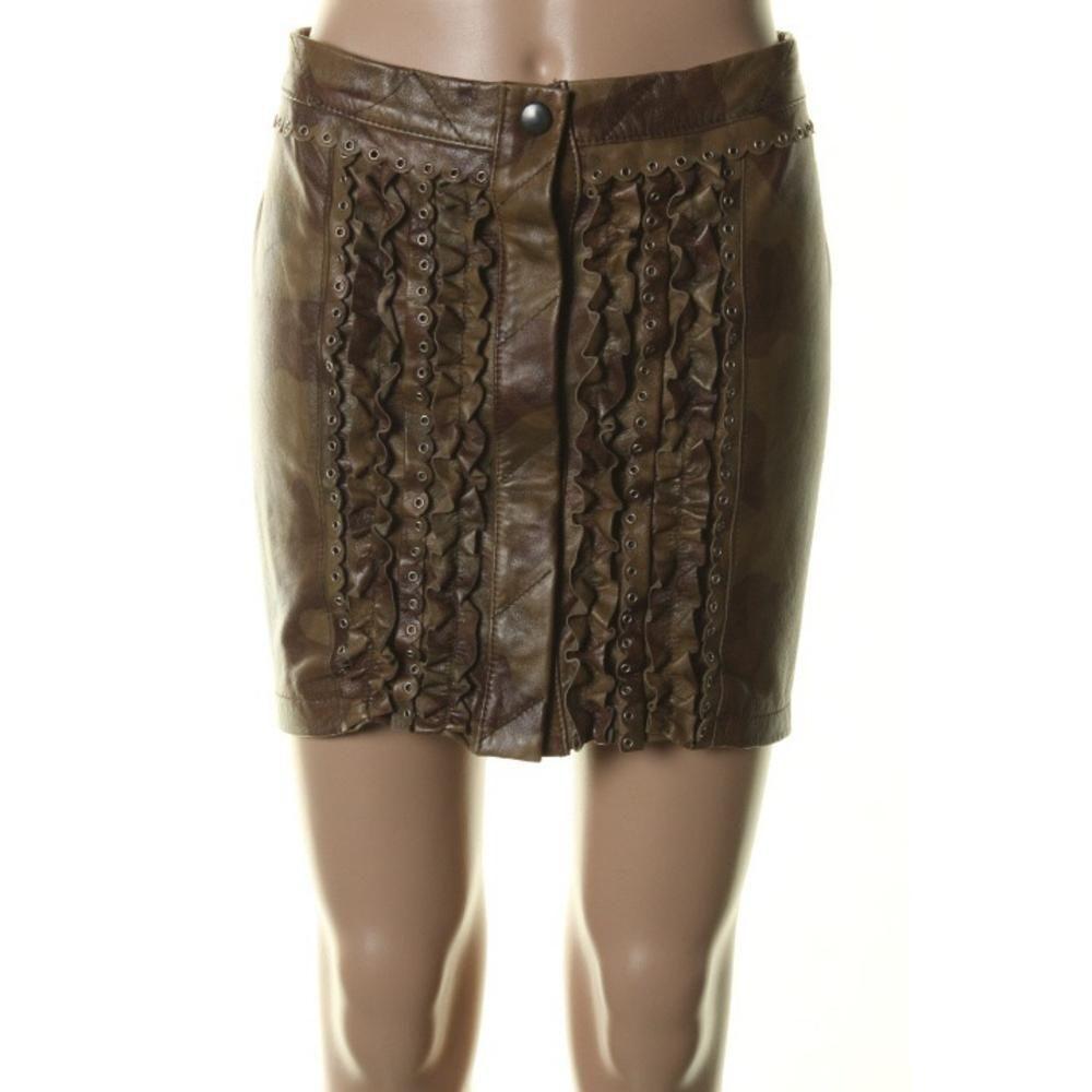GIL SANTUCCI NWT Army Green Leather Ruffled Mini Skirt Sz 42 Made in   425