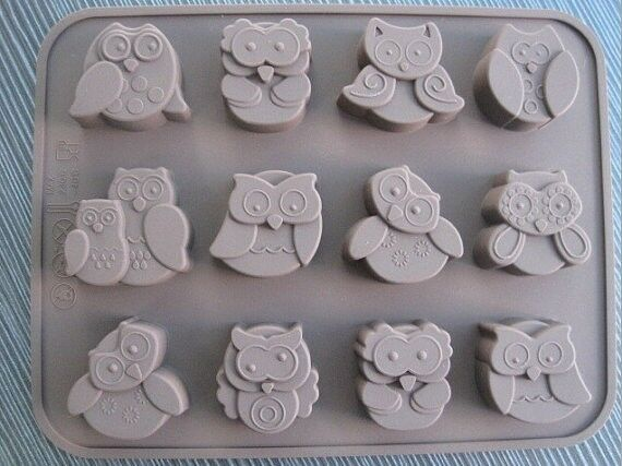 Cake Mold Soap Mold 12-Owl Flexible Silicone Mould For Ice lattice ice cube tray