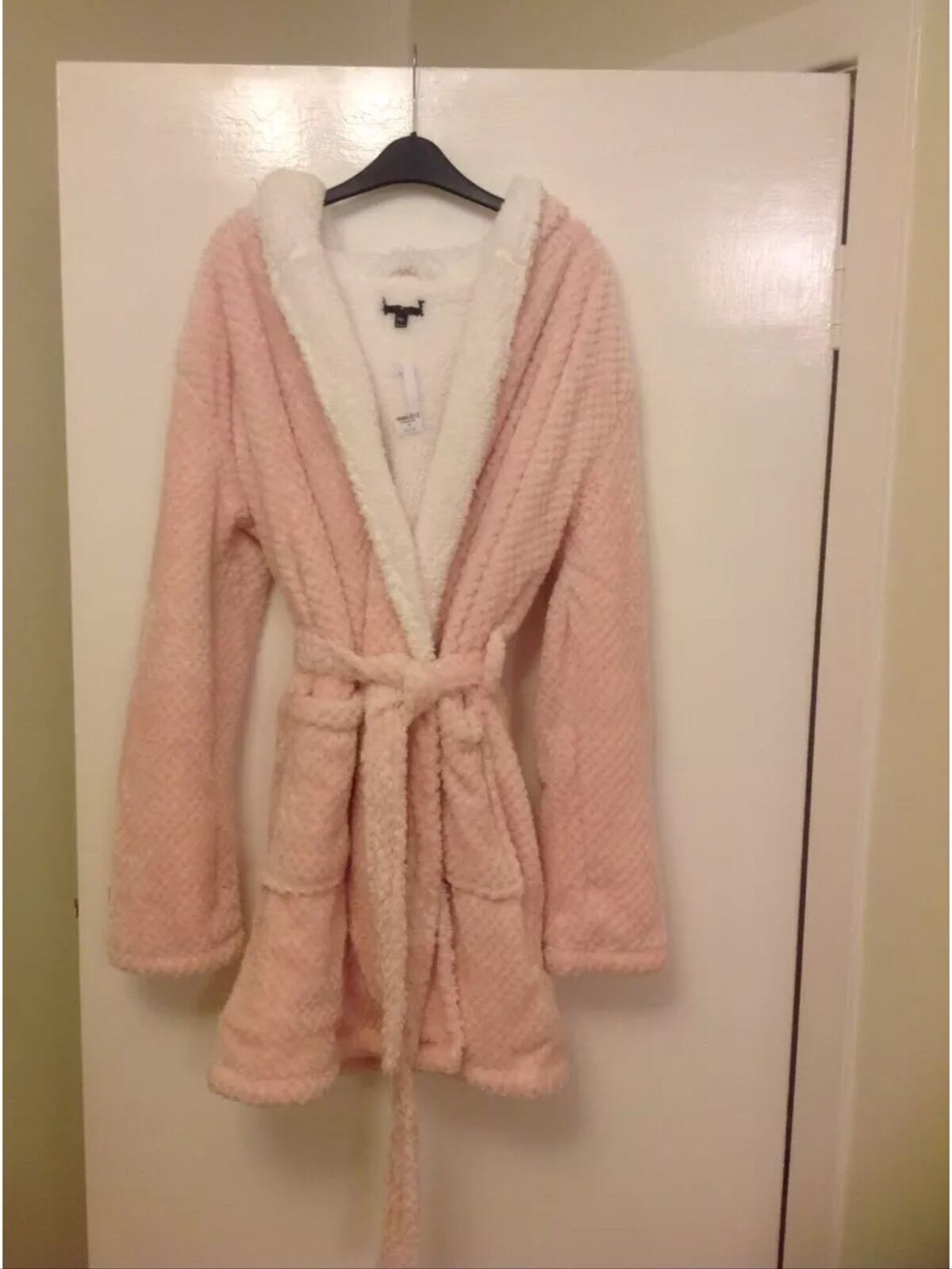 TOP SHOP LADIES PINK PEACH WAFFLE DRESSING GOWN SIZE L 16 18. BNWT