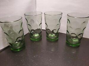 "Vintage Hazel Atlas El Dorado Green Thumb Dot Glass Juice Glasses 4""T  Set of 4"