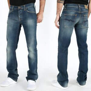 new-Nudie-Mens-Slim-Fit-Bootcut-Jeans-Bootcut-Barry-Organic-Strikey