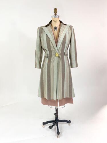 Killer! VTG 1930s 40s Herringbone Stripe Wool Dres