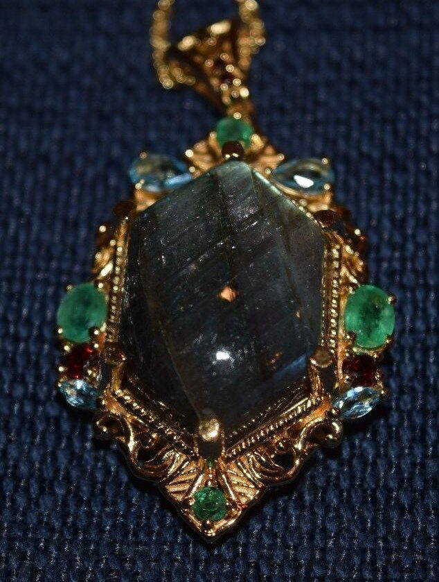 Malagasy Labradorite Multi-Gemstone 14KYG over Sterling Pendant with 20  Chain