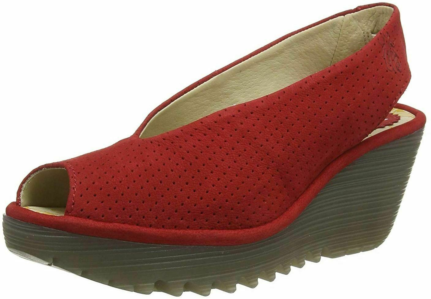 Fly london Yazu736fly Red Womens Leather Wedge shoes