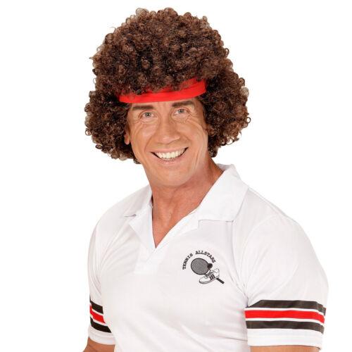 80er Jahre Locken Perücke mit Stirnband Minipli Herrenperücke Tennisspieler