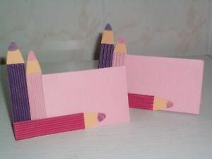 2 Tischkarten Tischkärtchen Einschulung Stifte rosa/lila/pink Mädchen-Style