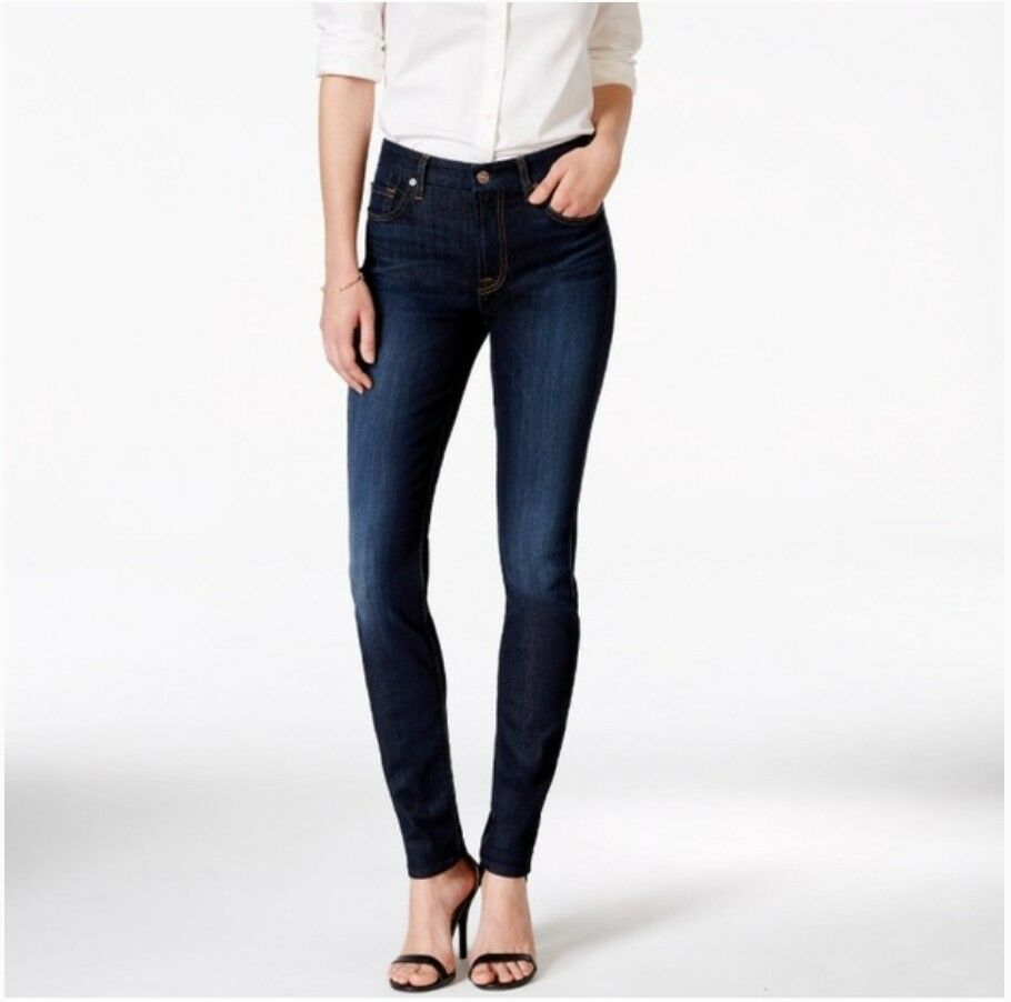7 för alla männskliga midjan Rise Ankle Skinny Jeans Dark Wash 26  170