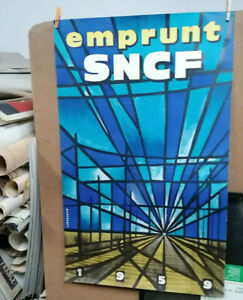 AFFICHE-ANCIENNE-ORIGINALE-PUB-EMPRUNT-SNCF-CHEMIN-DE-FER-1959-J-JACQUELIN