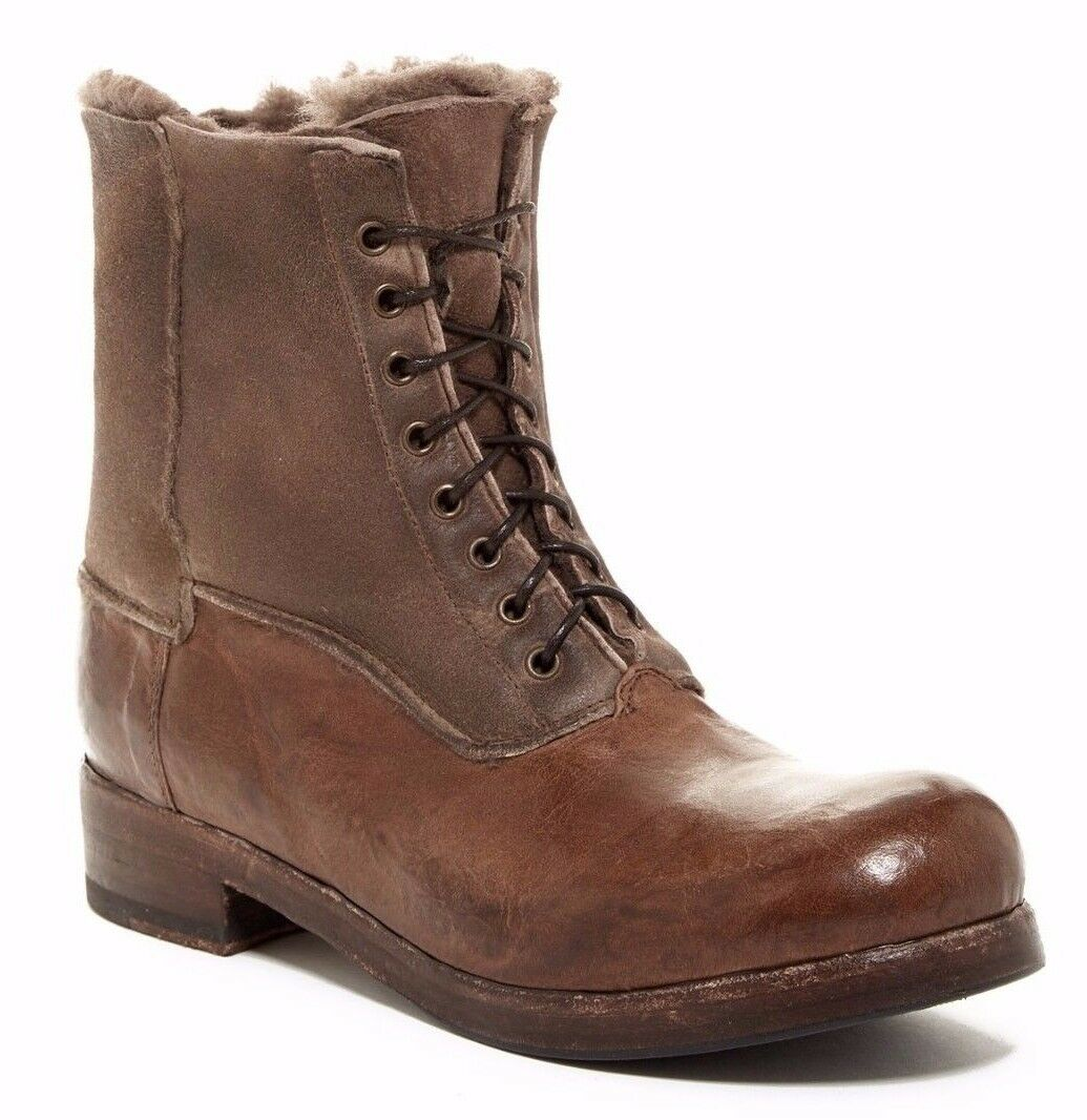 Bed Stu bluee Bell Leather Shearling Lined Women's Women's Women's Lace Up Ankle Boot Brown 6 daeee0