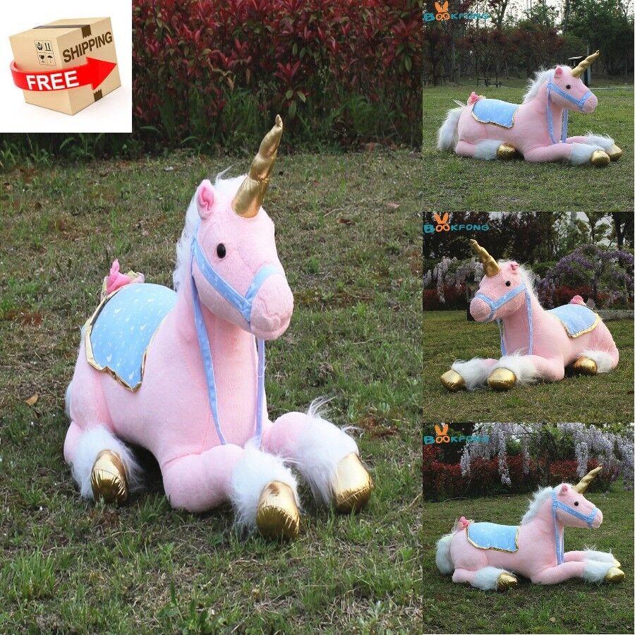 Giant Pink Unicorn Soft Plush Stuffed Animal Toy Doll For Kids Best Gift 85cm