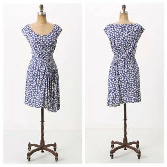 Leifnotes Anthropologie bluee White Birds Gulls Print Jersey Dress S