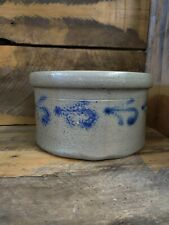 PRETTY LITTLE CAKE CROCK, DESIREABLE SIZE, COBALT BLUE DECORATED. AS MADE COND.