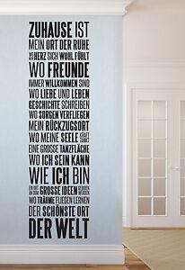 Zuhause ist flur wohnzimmer zu hause diele wandspruch wandaufkleber wandtattoo ebay - Wandspruche wohnzimmer ...