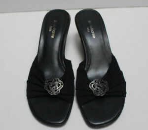 Liz-Claiborne-Flex-Black-Med-Heel-Slip-On-Mule-Shoes-Size-8M