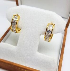 Image Is Loading Yellow Gold Finish Huggie Princess Cut Chanel Set