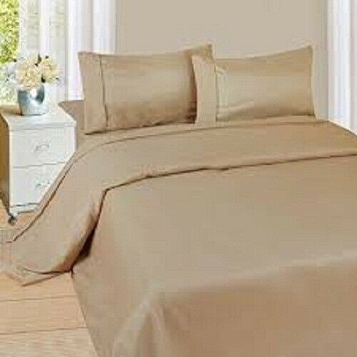 5 PCs Duvet Quilt Cover Set 1000 Thread Count Egyptian Cotton Taupe Solid