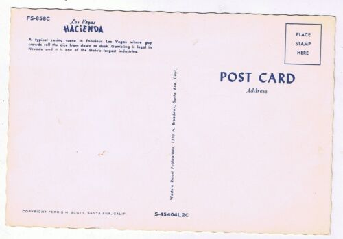 Hacienda Casino Crap Table Dice Old Post Card FS 858C Scalloped Las Vegas Nevada