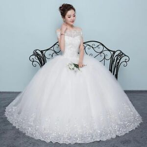 Details about Wedding Dress Off The Shoulder Floor-length Appliques Princess  Ball Bride Gowns 5a964558aa2f