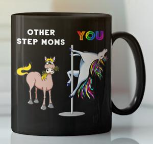 Step mom bonus mother rainbow Unicorn pole dancing coffee mug, Gift from kids