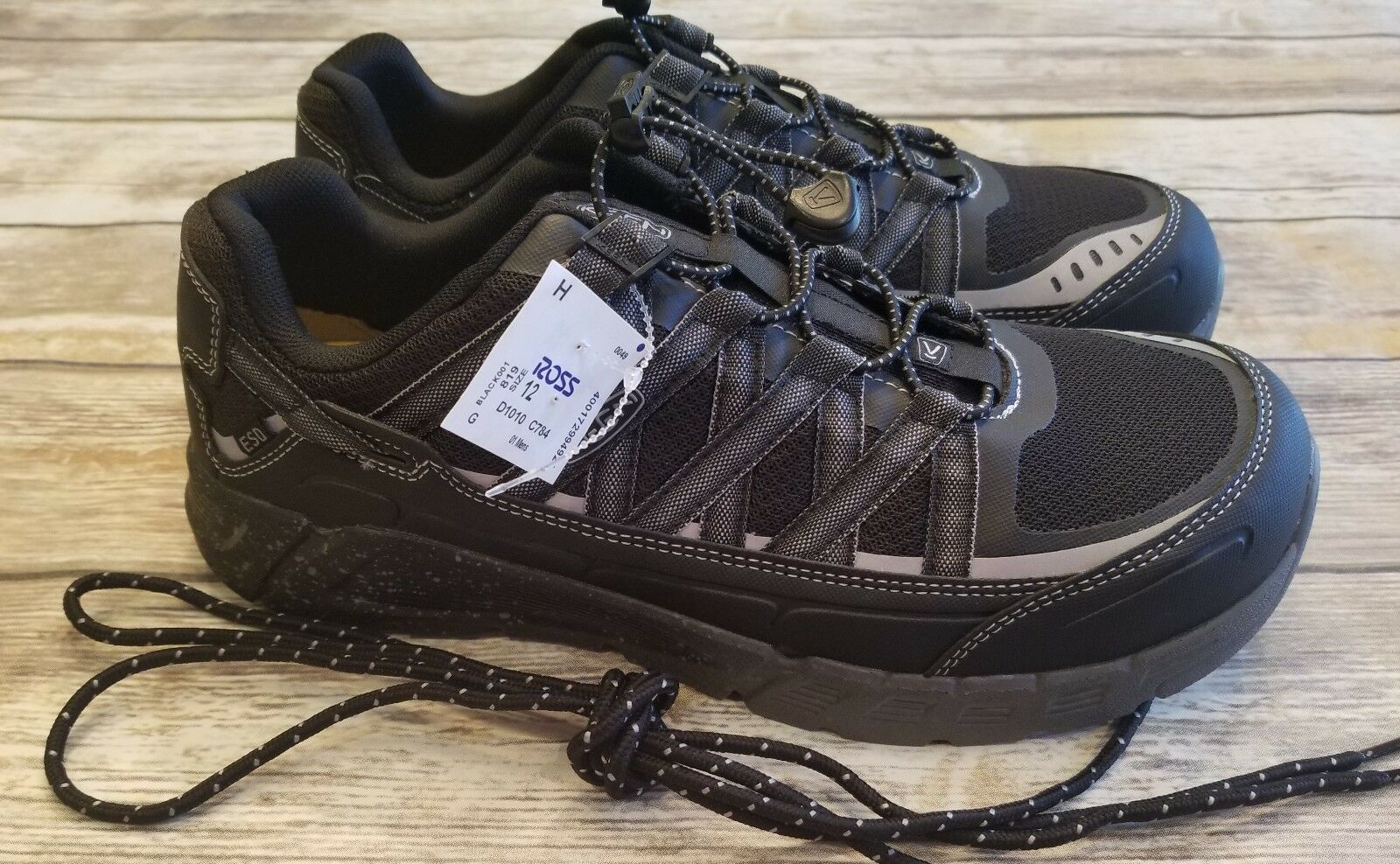 Keen Asheville AT ESD Aluminum Toe Travail Chaussures Noir Raven Homme Taille 12