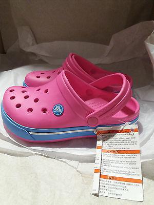 CHILDREN'S CROCBAND CROCS Neon Magenta/Bluebell - UK Size J2