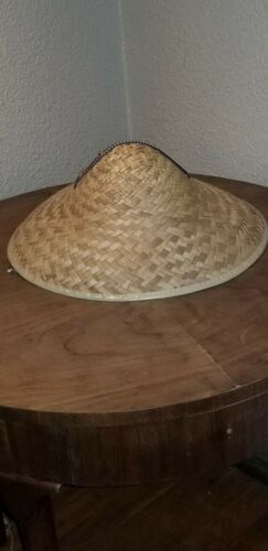 Details about  /Vintage Woven Straw Seamed Band Beach Cooley Hat Made in Mexico