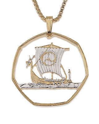 "Ship, Viking Coin Pendant Necklace. Hand cut Coin .  1-1/8"" diameter ( # 422 )"