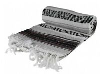Authentic Grey Mexican Blanket Hand Woven 73 X 48