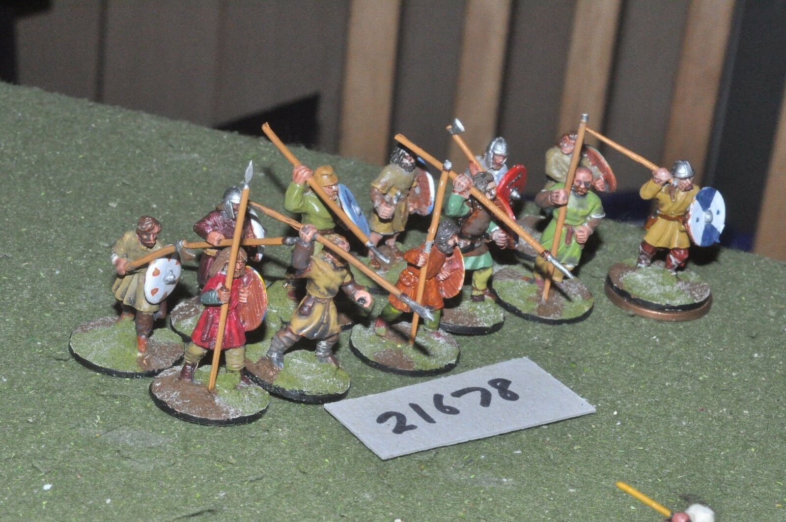 25mm dark ages   anglo saxon - warriors 12 figs infantry - inf (21678)