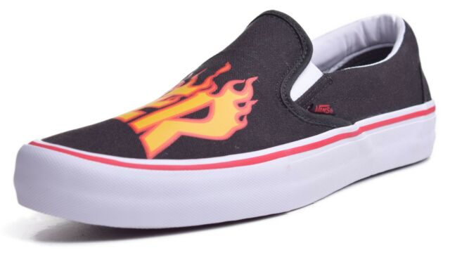 5989eeedfce360 VANS X Thrasher Size 12 Slip on Pro Black Flame SNEAKERS Skate Shoes .