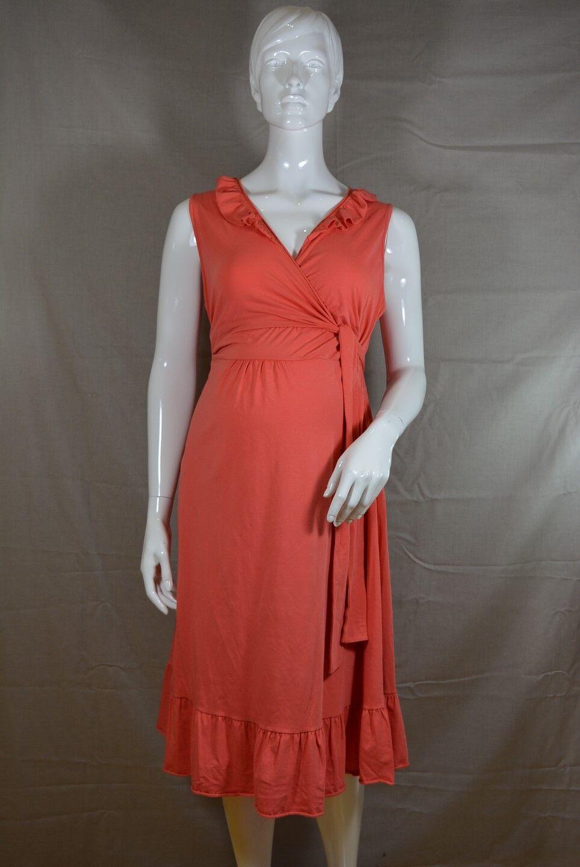 Boob Umstandskleid Still-Kleid Volants Coral brown L XL Bio-Baumwolle; K1 373