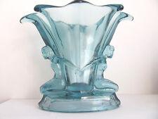 ANTIQUE, ART DECO WALTHER & SOHNE BLUE GLASS VASE WITH FIGURES ,WINDSOR  VASE