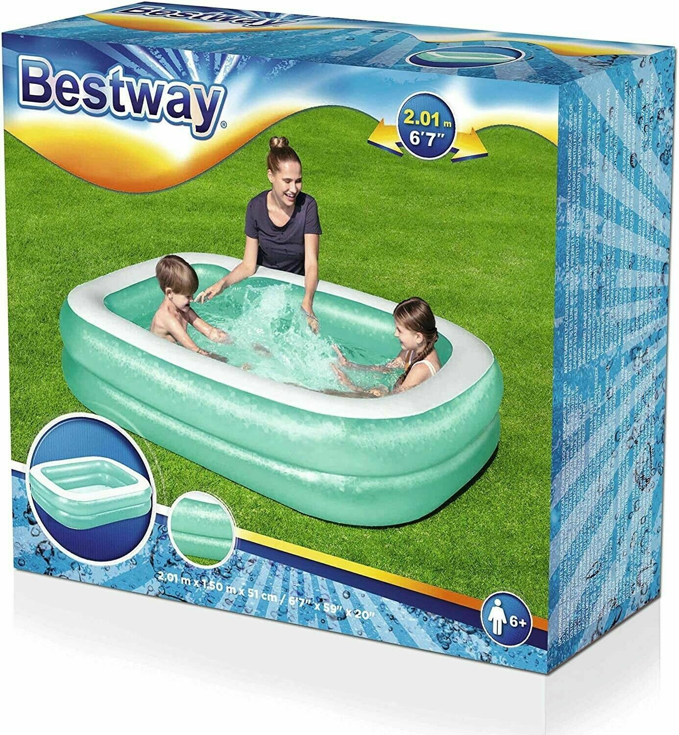 BESTWAY Paddling Pool Ground Blue Rectangular Family Inflatable - 201 x 150cm