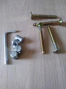 ZP Clé Allen 1 Kit de 4 vis /& 4 ÉCROU pour lits M6 x 100 mm Lits /& Meubles
