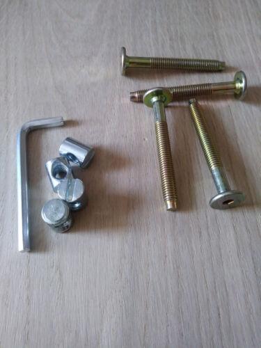 M6 x 55mm 1 KIT Of 4 Screw /& 4 Nut For Beds Allen Key Cots /& Furniture YP