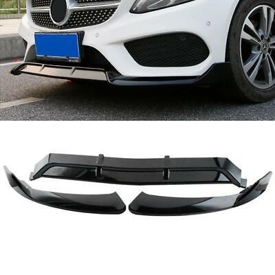 3pc Carbon Black Front Bumper Lip Spoiler For 15-18 Mercedes Benz C-Class W205