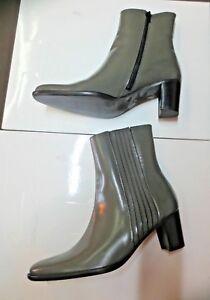 Stiefel Leder Par M 40 Politur Neu Schuhgrößen39 Absatz 6cm Grau Valeur145e GLSzqUMVp