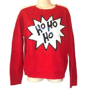 dd8f1cb0426 NWT Divided by H M Women Sweater Sequin Red Christmas Size Small ...