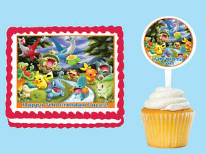 POKEMON FOREST Edible Birthday Party Cake Cupcake Topper Plastic Pick Sticker
