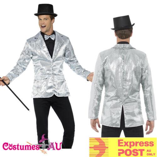 Mens Tuxedo Sequin Jacket Silver 20s Costume Gangster Dance Magician Jazz Coat