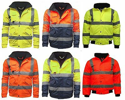 Contractor Hi Viz High Vis Visibility Bomber Work Jacket YellowOrange DH