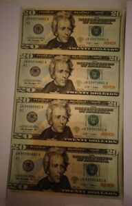 Details about $20 X 4 UNCUT SHEET: 20 dollar 4 uncut Legal USA bills *Real  Currency gift Notes