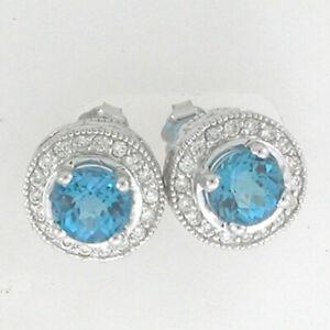 14k White Gold Blue Topaz Diamond Earrings 5.22 ctw