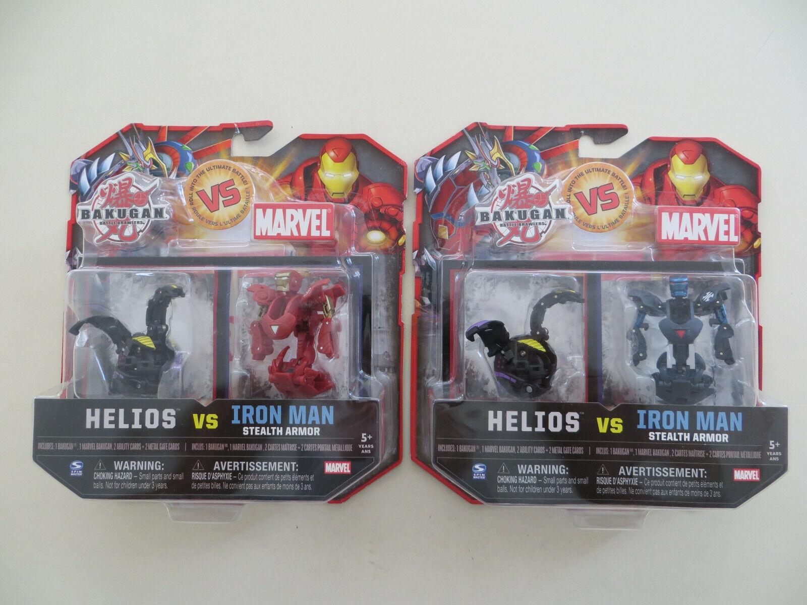 Bakugan Vs Marvel 2 paquetes Helios Vs Armadura Iron Man Stealth Negro Azul Rojo oro