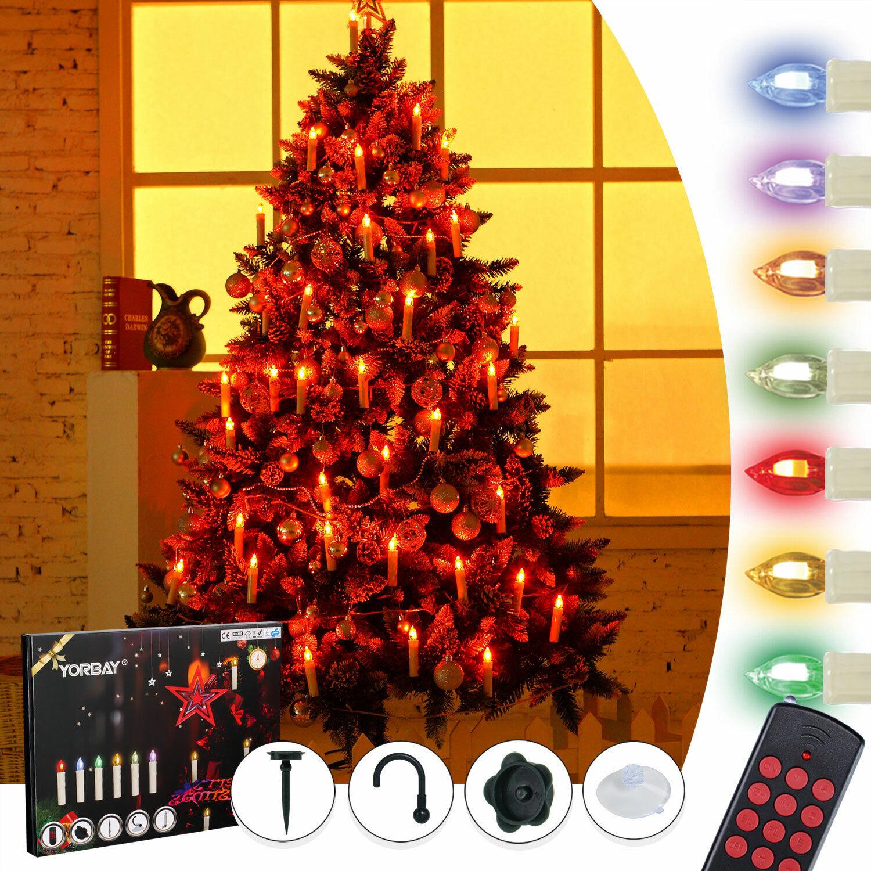 20 30 40er kabellose LED Weihnachtskerzen RGB Warmweiß Dimmbar mit Fernbedienung