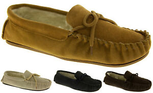 Mens-Lodgemok-SUEDE-LEATHER-Moccasins-REAL-WOOL-Shoe-Slippers-Sz-7-8-9-10-11-12