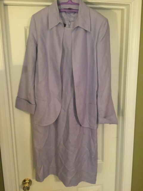 Women S Anne Klein Linen Dress Suit Size 8 Lavender Designer Fashion