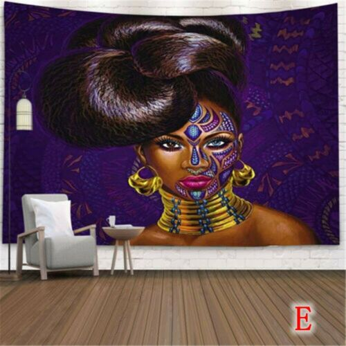 Trippy African Woman Tapestry Wall Hanging Hippie Tapestries Background Decor
